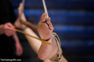 Tattooed brunette chick gets roped and hard fucked by her two masters in their basement - XXXonXXX - Pic 14