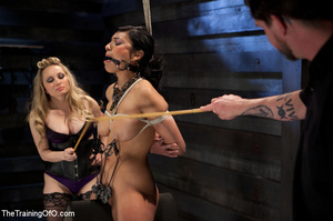 Blonde slave girl with a shinju and clover clamps on her tits gets her cooch fisted hard by her mistress and forced to lick her cunt - XXXonXXX - Pic 13