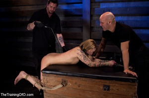 Tattooed enslaved girl in cincher and boots gets her pooper slammed badly by her big bald master - XXXonXXX - Pic 3