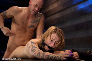 Tattooed enslaved girl in cincher and boots gets her pooper slammed badly by her big bald master - XXXonXXX - Pic 5
