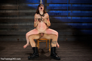 Brunette chick with shinju and neck hanged forced to jump on her master's boner - XXXonXXX - Pic 5