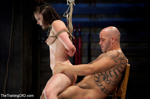 Brunette chick with shinju and neck hanged forced to jump on her master's boner - XXXonXXX - Pic 8