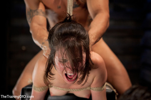 Brunette chick with shinju and neck hanged forced to jump on her master's boner - XXXonXXX - Pic 12