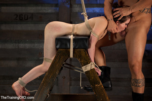 Brunette chick with shinju and neck hanged forced to jump on her master's boner - XXXonXXX - Pic 14