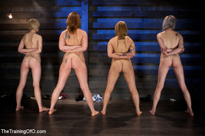 Three stretched and bound tgether girls gets flogged before torturing and fucking in the bdsm basement - XXXonXXX - Pic 11