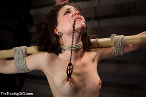 Dark-haired girl in special bondage tight and her hands roped to a stick with baskets full of water gets her head fucked by her master - XXXonXXX - Pic 12