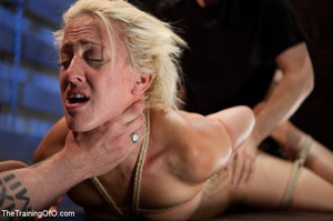 Bound blonde chick with a gag-ball gets her cooch drilled by her master eagerly - XXXonXXX - Pic 7