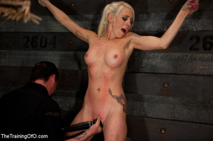 Blonde onytailed bitch gets tortured with tit pumps and clothes pins in dark basements of her bdsm master - XXXonXXX - Pic 11