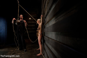 Blonde onytailed bitch gets tortured with tit pumps and clothes pins in dark basements of her bdsm master - XXXonXXX - Pic 12