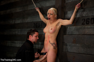 Blonde onytailed bitch gets tortured with tit pumps and clothes pins in dark basements of her bdsm master - XXXonXXX - Pic 14