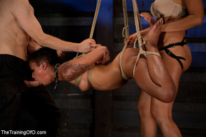 Two hot chicks roped tightly get fucked eagerly by their master in the cold cellar - XXXonXXX - Pic 4