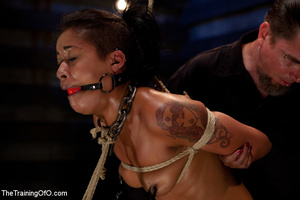 Hot Asian chick roped and suspended punished badly with electricity by her bdsm master - XXXonXXX - Pic 8