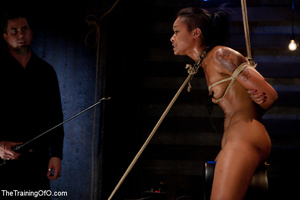 Hot Asian chick roped and suspended punished badly with electricity by her bdsm master - XXXonXXX - Pic 12