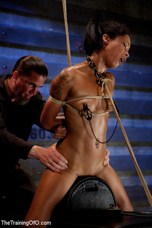 Hot Asian chick roped and suspended punished badly with electricity by her bdsm master - XXXonXXX - Pic 15
