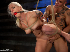 Blonde ponytailed chick with a gag-ball gets roped - XXXonXXX - Pic 8