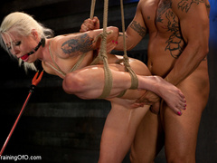 Blonde ponytailed chick with a gag-ball gets roped - XXXonXXX - Pic 9