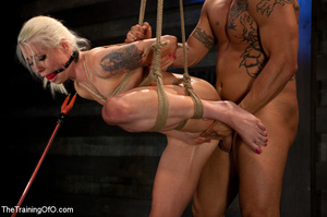 Blonde ponytailed chick with a gag-ball gets roped and hung and tortured with the electricity - XXXonXXX - Pic 9