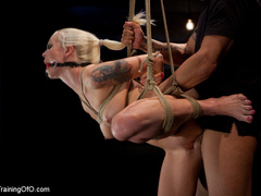 Blonde ponytailed chick with a gag-ball gets roped - XXXonXXX - Pic 11