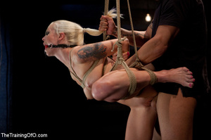 Blonde ponytailed chick with a gag-ball gets roped and hung and tortured with the electricity - XXXonXXX - Pic 11