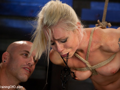 Blonde ponytailed chick with a gag-ball gets roped - XXXonXXX - Pic 12