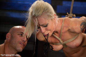 Blonde ponytailed chick with a gag-ball gets roped and hung and tortured with the electricity - XXXonXXX - Pic 12