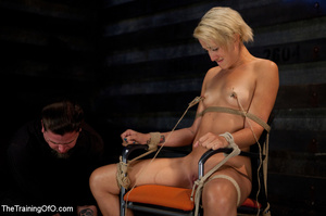 Hot blonde gal roped tightly gets her pussy drilled hard with a stiff rod - XXXonXXX - Pic 5