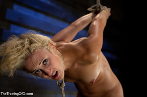 Hot blonde gal roped tightly gets her pussy drilled hard with a stiff rod - XXXonXXX - Pic 9