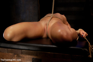 Blonde ponytailed chick gets bound tightly and tortured with pins in dirty cold cellar - XXXonXXX - Pic 5