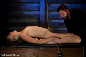 Blonde ponytailed chick gets bound tightly and tortured with pins in dirty cold cellar - XXXonXXX - Pic 6