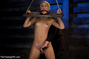 Blonde ponytailed chick gets bound tightly and tortured with pins in dirty cold cellar - XXXonXXX - Pic 7