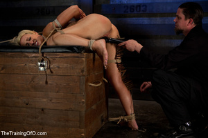Blonde ponytailed chick gets bound tightly and tortured with pins in dirty cold cellar - XXXonXXX - Pic 13