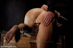 Blonde ponytailed chick gets bound tightly and tortured with pins in dirty cold cellar - XXXonXXX - Pic 14