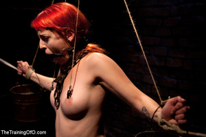 Red girl with pins and stretcher on her nipples gets humiliated and tortured badly before hard fucking - XXXonXXX - Pic 6