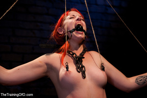 Red girl with pins and stretcher on her nipples gets humiliated and tortured badly before hard fucking - XXXonXXX - Pic 7