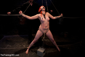 Red girl with pins and stretcher on her nipples gets humiliated and tortured badly before hard fucking - XXXonXXX - Pic 8