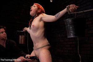 Red girl with pins and stretcher on her nipples gets humiliated and tortured badly before hard fucking - XXXonXXX - Pic 9
