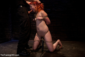 Red girl with pins and stretcher on her nipples gets humiliated and tortured badly before hard fucking - XXXonXXX - Pic 12
