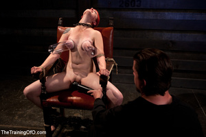 Hot red chick gets roped to an armchair to be tortured and punished badly in bdsm basement - XXXonXXX - Pic 4