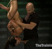 Roped in karada style girl and hung upside down…