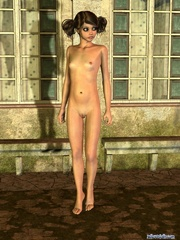 Cool brunette pigtailed 3d girl stayed naked - Cartoon Porn Pictures - Picture 8