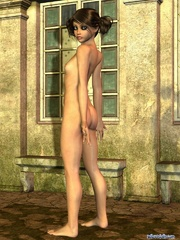 Cool brunette pigtailed 3d girl stayed naked - Cartoon Porn Pictures - Picture 9