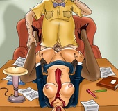 Bald boss forces his brunette secretary to suck&hellip;