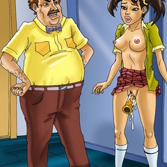 Male toon teacher finds his pigtailed pupil - Cartoon Sex - Picture 2
