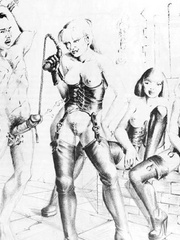 Very hot black and white drawings with - BDSM Art Collection - Pic 3