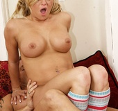 Busty pigtailed blonde bitch screaming when…