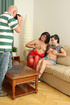 She's licking her BF's mom's tits when his dad…