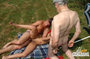 Old fart found two cool lesbians pleasing each other in the forest and joined them immediately - XXXonXXX - Pic 10