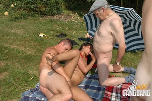 Old fart found two cool lesbians pleasing each other in the forest and joined them immediately - XXXonXXX - Pic 11