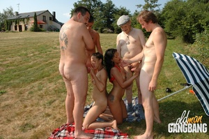 Old fart found two cool lesbians pleasing each other in the forest and joined them immediately - XXXonXXX - Pic 14