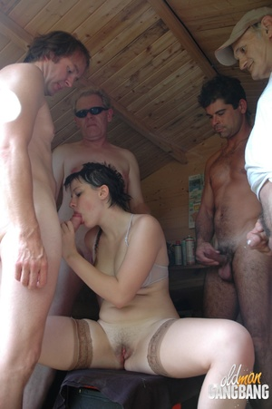 Dirty brunette bitch gets her popper and cunt slammed badly by her BF and two old goats in the barn - XXXonXXX - Pic 13
